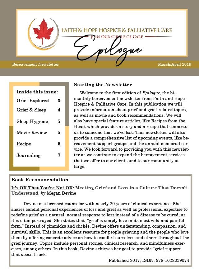 Faith & Hope Hospice and Palliative Care, Epilogue, Bereavement Newsletter